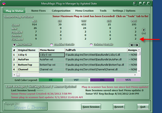 MenuMagic's Status Tab - Excluded Plug-in info